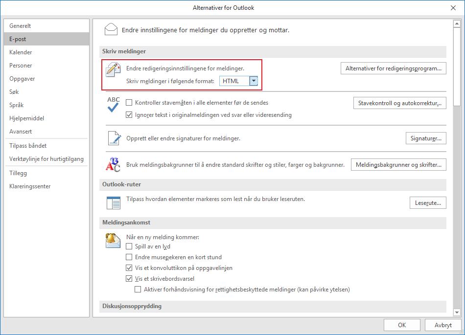 Outlook alternativer epost html